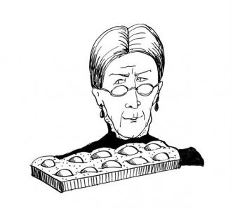"""<h5>Ilustracja do książki """"Całuski pani Darling"""". Rozdział: """"Morelowa zapiekanka ciotki Polly"""".</h5>"""