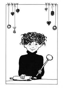 """<h5>Ilustracja do książki """"Całuski pani Darling"""". Strona tytułowa.</h5>"""