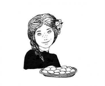 """<h5>Ilustracja do książki """"Całuski pani Darling"""". Rozdział: """"Złote biszkopciki Ani Shirley"""".</h5>"""