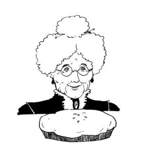 """<h5>Ilustracja do książki """"Całuski pani Darling"""". Rozdział: """"Szarlotka Bzowej Babuleńki"""".</h5>"""
