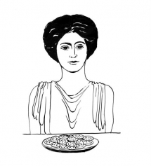 <h5>Ilustracja do książki &quot;Całuski pani Darling&quot;. Rozdział: &quot;Ciasteczka bogini Demeter&quot;.</h5>