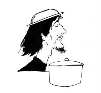 """<h5>Ilustracja do książki """"Całuski pani Darling"""". Rozdział: """"Zupa dla Don Kichota"""".</h5>"""