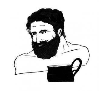 """<h5>Ilustracja do książki """"Całuski pani Darling"""". Rozdział: """"Zupa herosa Heraklesa"""".</h5>"""