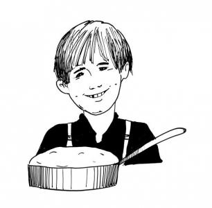 """<h5>Ilustracja do książki """"Całuski pani Darling"""". Rozdział: """"Ciasto Huckleberry Finna"""".</h5>"""