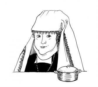 """<h5>Ilustracja do książki """"Całuski pani Darling"""". Rozdział: """"Kaszka Anny Jagiellonki"""".</h5>"""