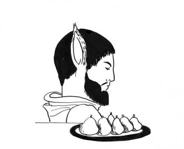 """<h5>Ilustracja do książki """"Całuski pani Darling"""". Rozdział: """"Złote gruszki Midasa"""".</h5>"""