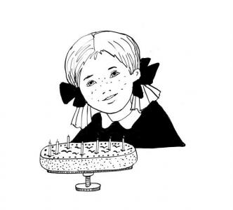 """<h5>Ilustracja do książki """"Całuski pani Darling"""". Rozdział: """"Jabłkowy tort z Bullerbyn"""".</h5>"""