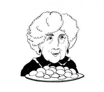"""<h5>Ilustracja do książki """"Całuski pani Darling"""". Rozdział: """"Pączki dla pani Tańskiej"""".</h5>"""
