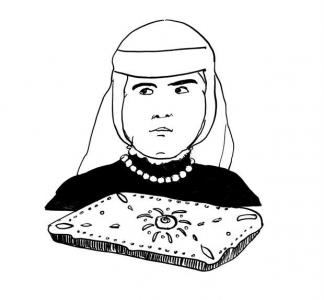 <h5>Ilustracja do książki &quot;Całuski pani Darling&quot;. Rozdział: &quot;Mazurek pani Twardowskiej&quot;.</h5>