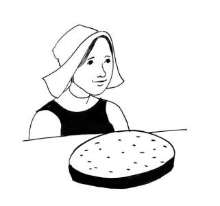 <h5>Ilustracja do książki &quot;Całuski pani Darling&quot;. Rozdział: &quot;Pikantny placek pani Tell&quot;.</h5>