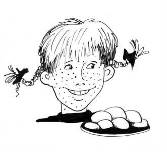 """<h5>Ilustracja do książki """"Całuski pani Darling"""". Rozdział: """"Pulchne bułeczki Pippi Pończoszanki"""".</h5>"""