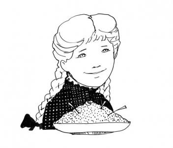 """<h5>Ilustracja do książki """"Całuski pani Darling"""". Rozdział: """"Krem czekoladowy Pollyanny"""".</h5>"""