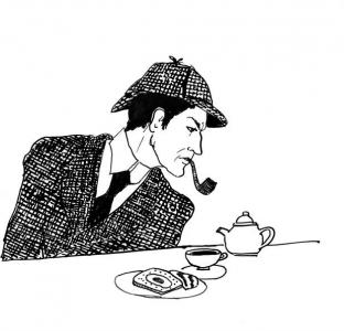 """<h5>Ilustracja do książki """"Całuski pani Darling"""". Rozdział: """"Śniadanko Sherlocka Holmesa"""".</h5>"""