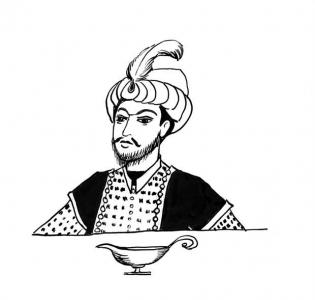 <h5>Ilustracja do książki &quot;Całuski pani Darling&quot;. Rozdział: &quot;Sos miętowy Sindbada Żeglarza&quot;.</h5>