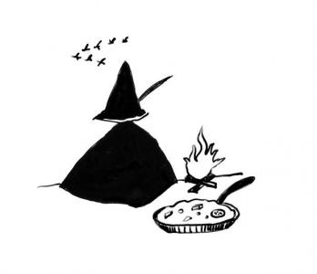 """<h5>Ilustracja do książki """"Całuski pani Darling"""". Rozdział: """"Chlebowy obiad Włóczykija"""".</h5>"""