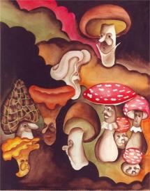 <h5>ilustracja do książki Tadeusza Kraszewskiego &quot;W królestwie grzybów&quot;</h5>