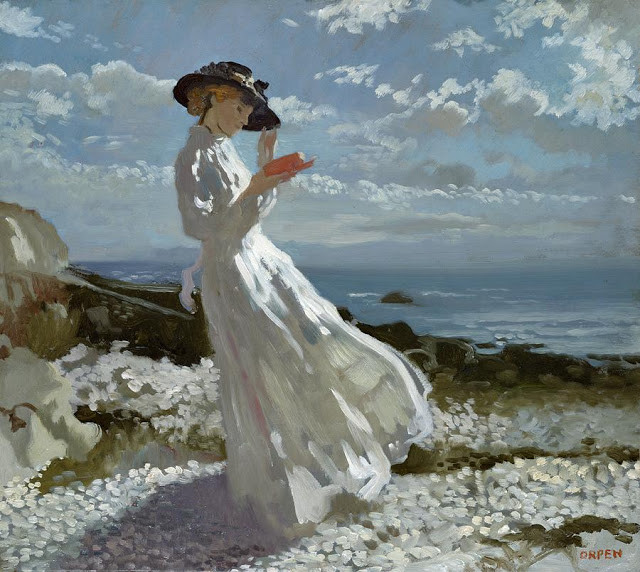 grace-reading-at-howth-bay-sir-william-orpen