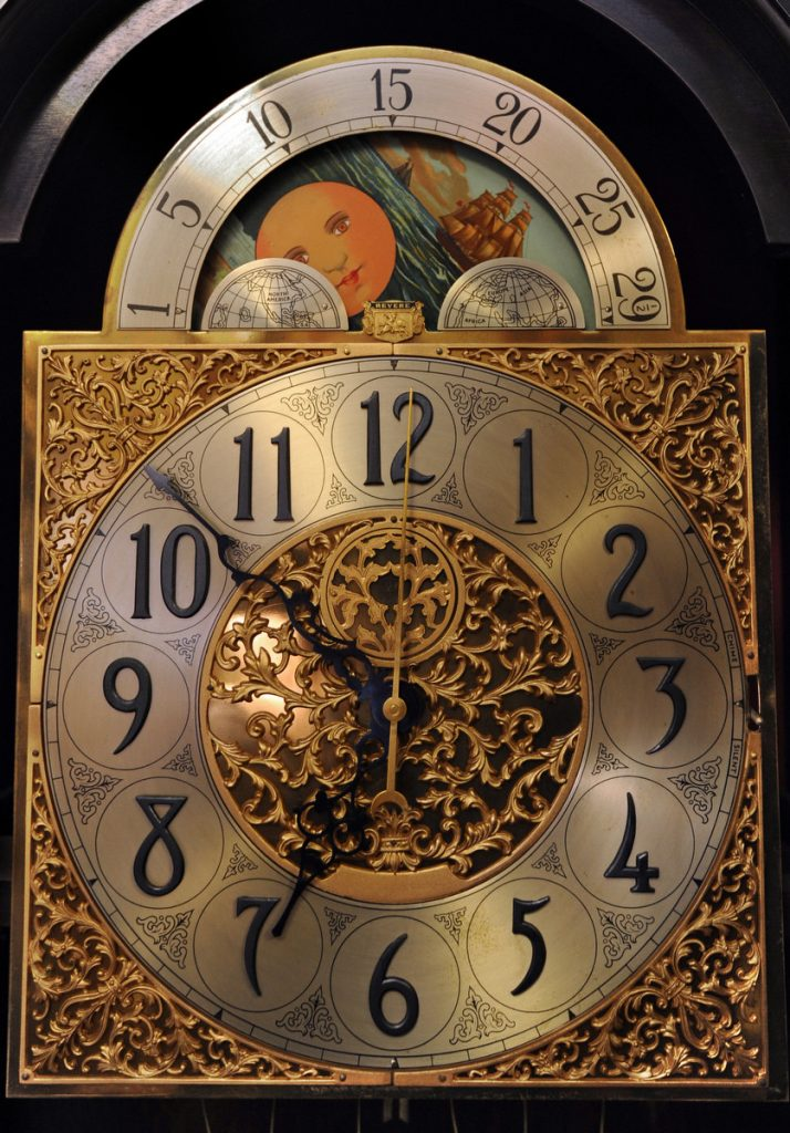 This is the clock dial on a Revere grandfather clock. (Algerina Perna/Baltimore Sun)