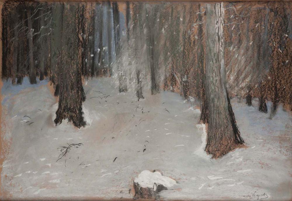 Leon Wyczółkowski las zimą
