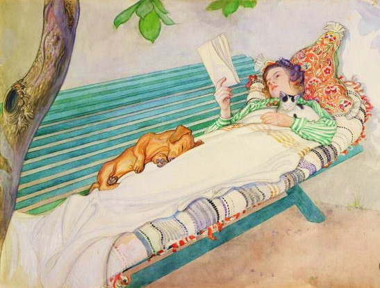 carl-larsson-woman-lying-on-a-bench-with-her-dog