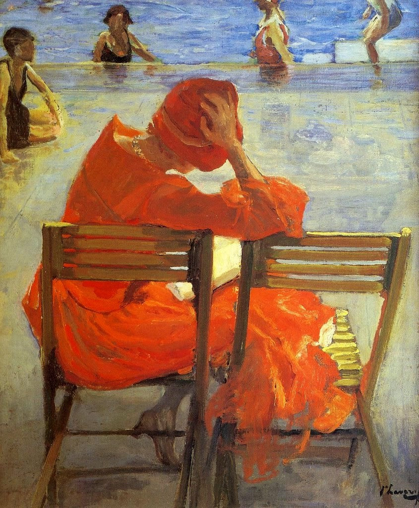 Lavery, Sir John (1856-1941) Girl in a Red Dress Reading by a Swimming Pool